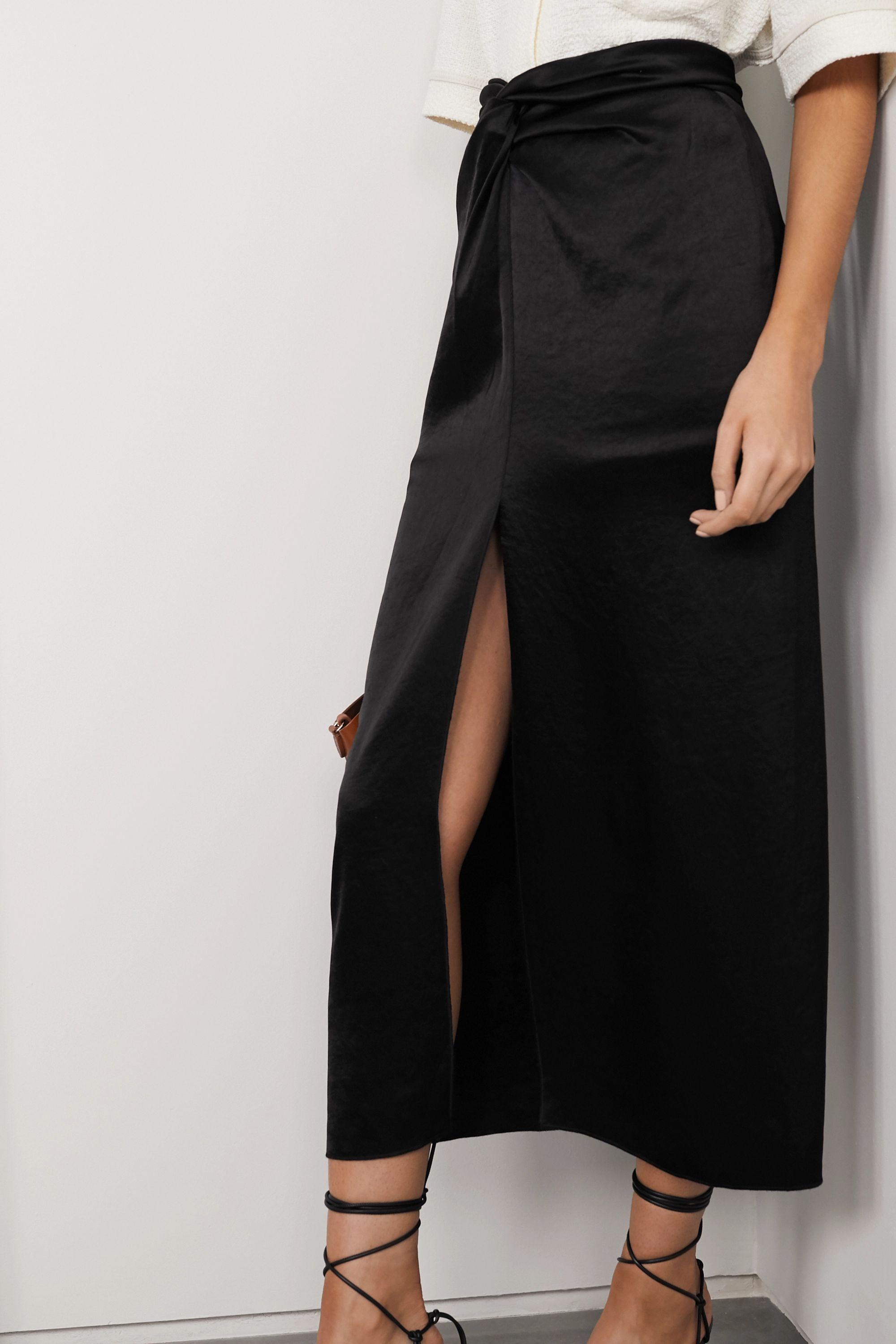 Nanushka Samara knotted washed-satin midi skirt