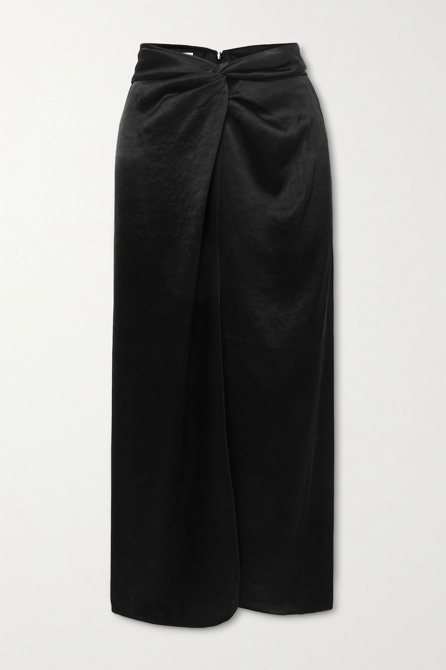Nanushka Samara knotted washed-satin midi skirt