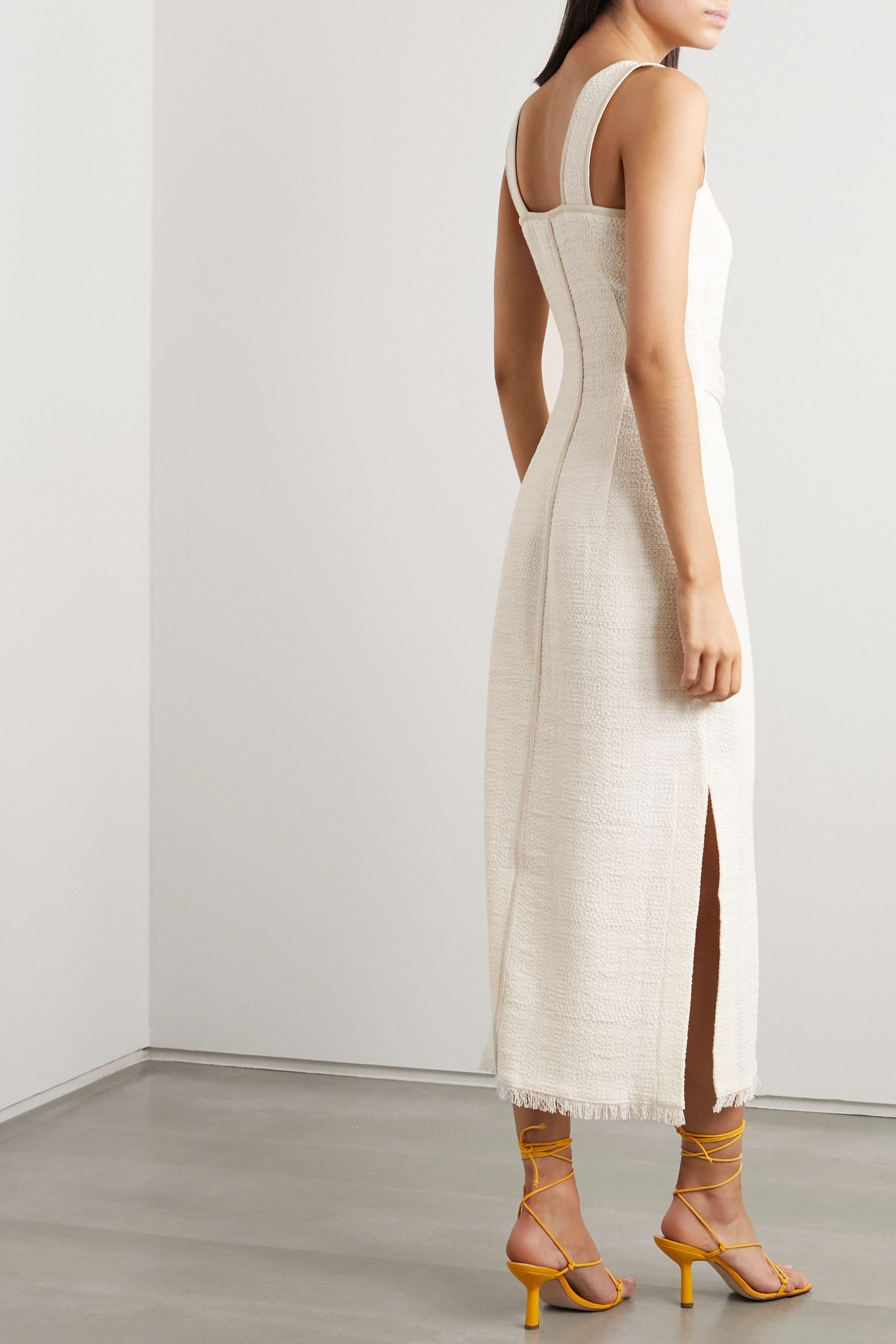 Nanushka Rita vegan leather-trimmed frayed cotton-blend midi dress