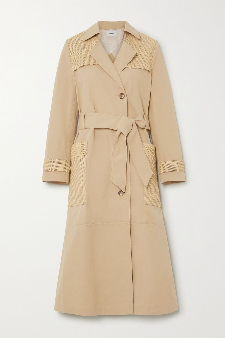 Nanushka Alex vegan leather-trimmed cotton and linen-blend canvas trench coat