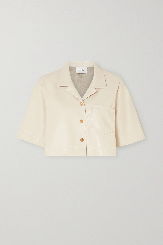 Nanushka Rhett cropped vegan leather shirt