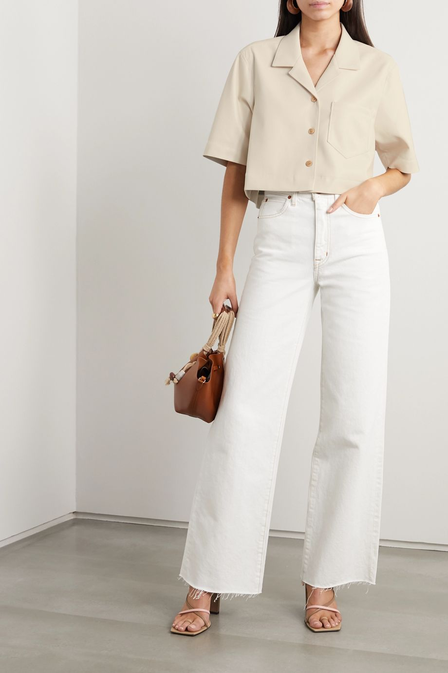 Nanushka Rhett cropped vegan leather shirt