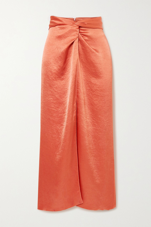 Nanushka Samara twist-front washed-satin midi skirt
