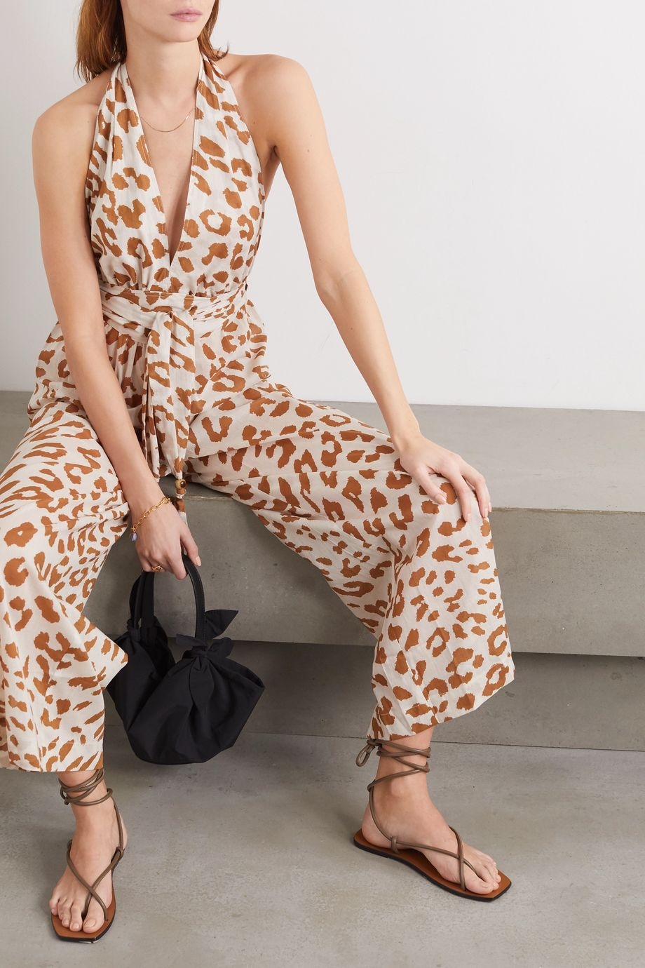 Nanushka Alayna belted leopard-print organic cotton-voile jumpsuit