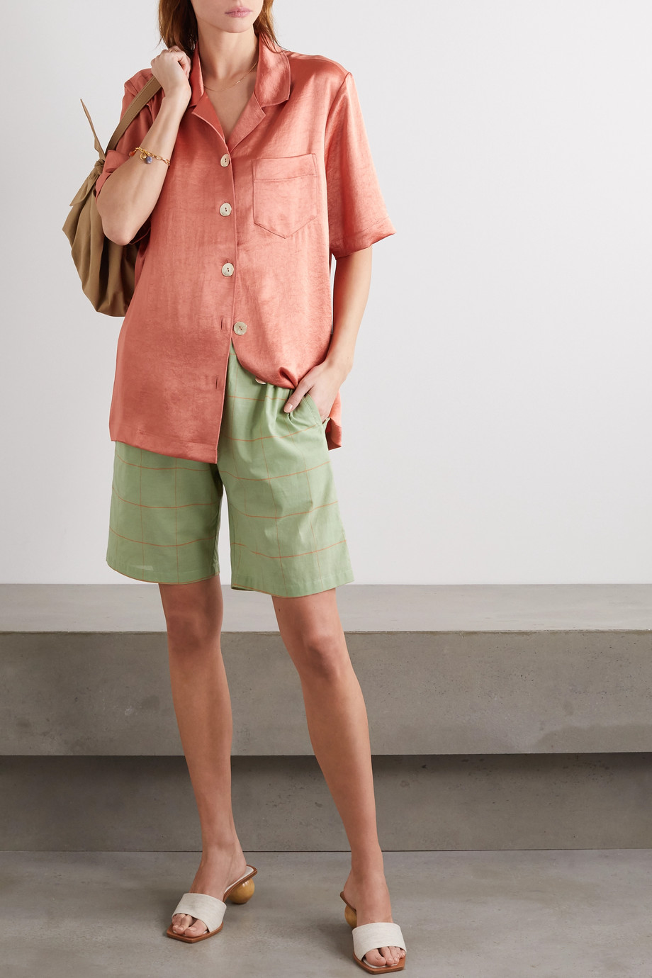 Nanushka Ella oversized washed-satin shirt