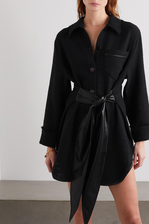 Nanushka Conny vegan leather-trimmed cotton-blend bouclé mini dress