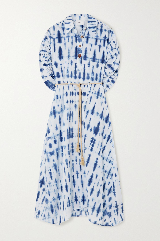 Nanushka Hanna belted tie-dyed organic cotton-poplin shirt dress