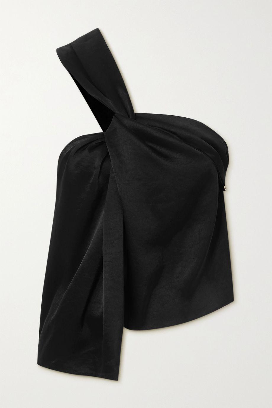 Nanushka Manon 单肩结饰水洗缎布上衣
