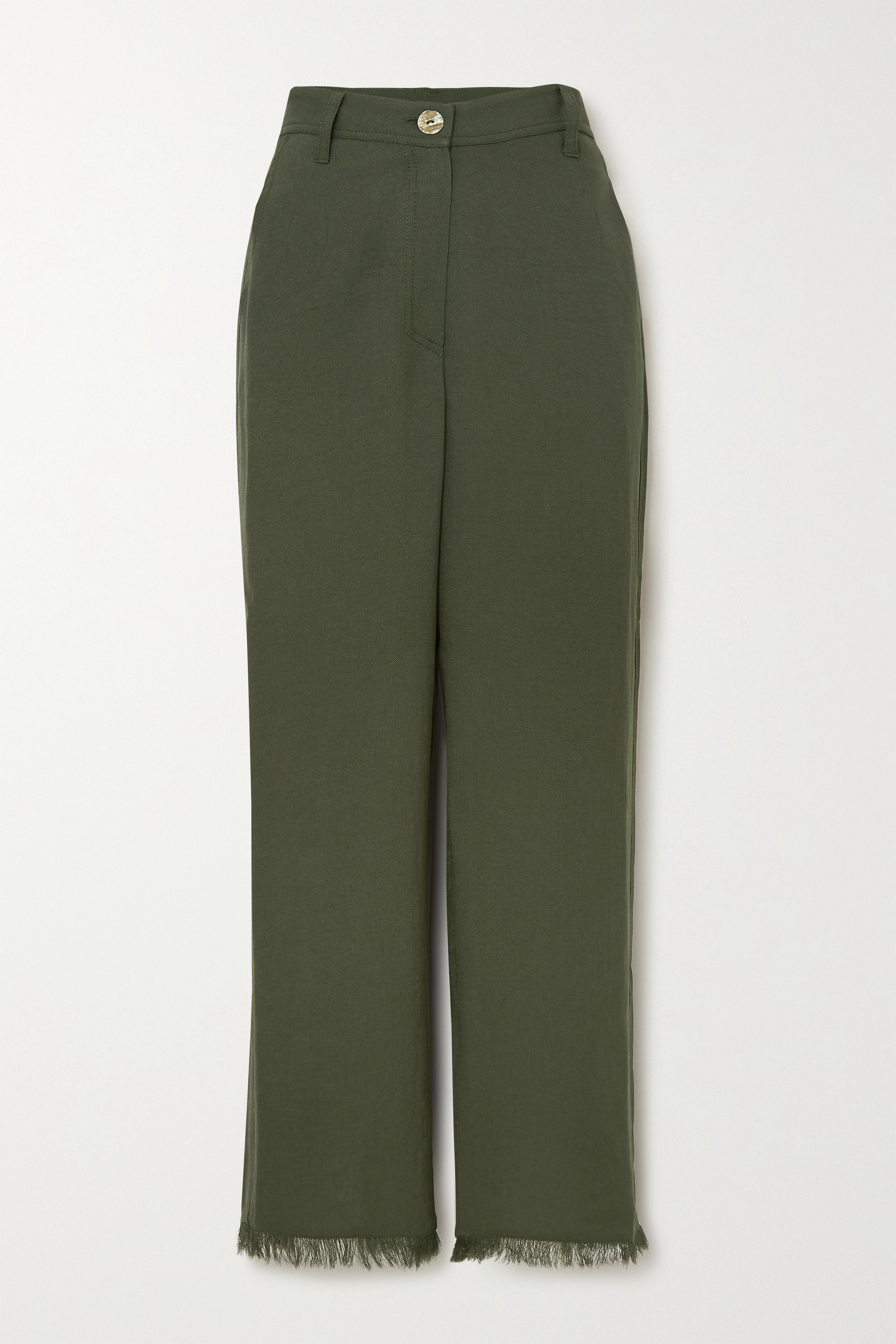 Nanushka Theo frayed woven straight-leg pants