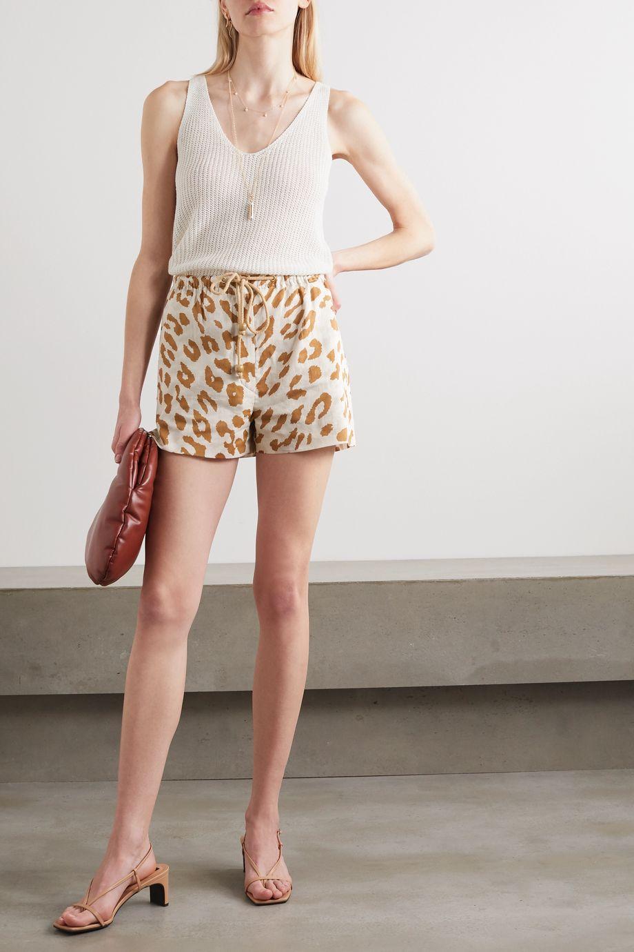 Nanushka Febe 豹纹有机纯棉巴里纱短裤