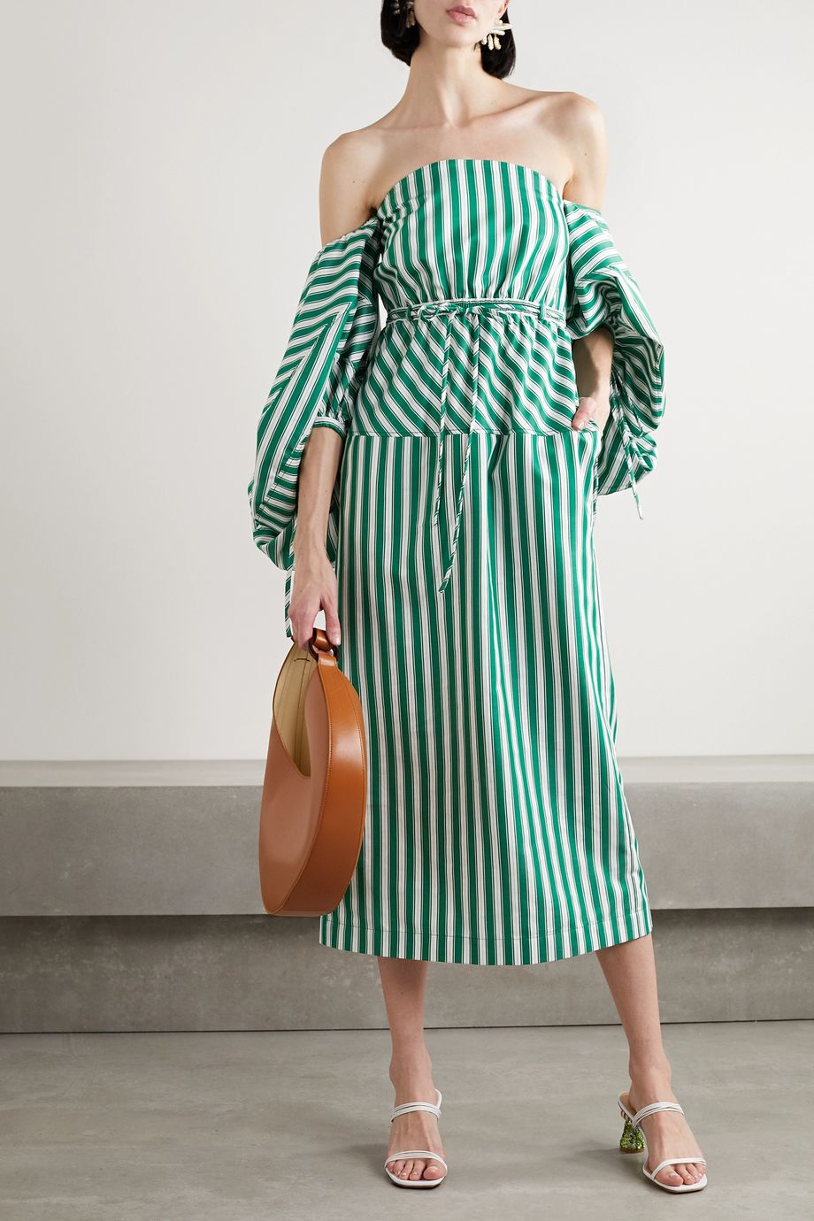 Rosie Assoulin Off-the-shoulder striped cotton-poplin midi dress
