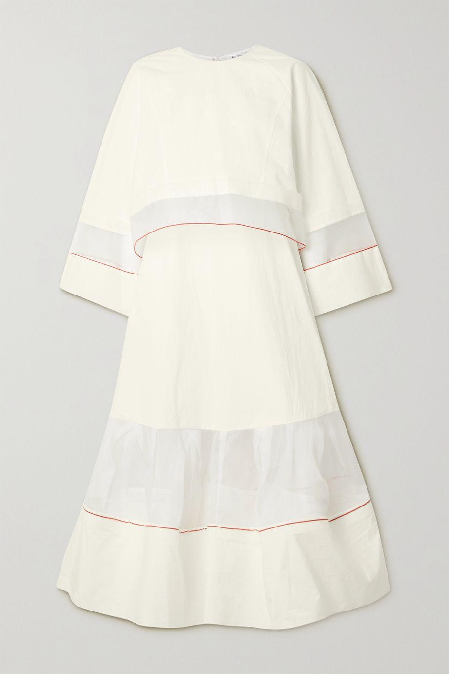 Rosie Assoulin Convertible layered organza-trimmed cotton-poplin maxi dress