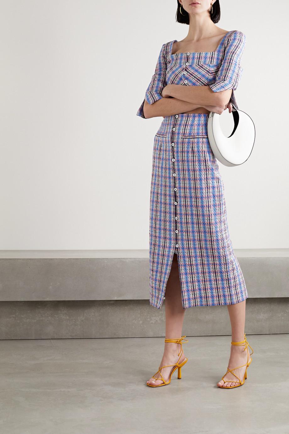 Rosie Assoulin Checked cotton-blend jacquard midi skirt