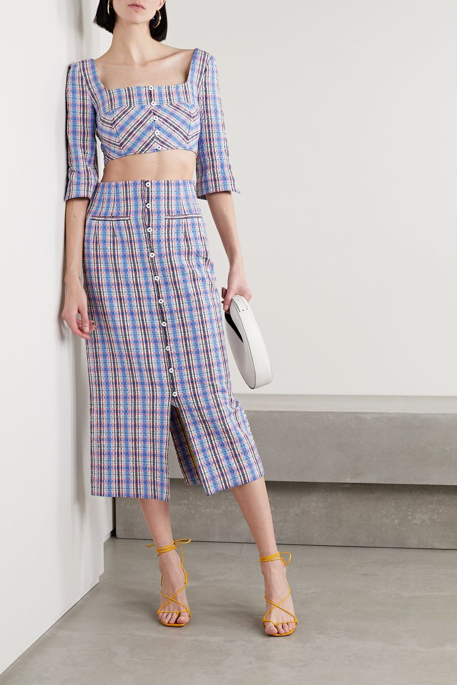 Rosie Assoulin Cropped checked cotton-blend jacquard top