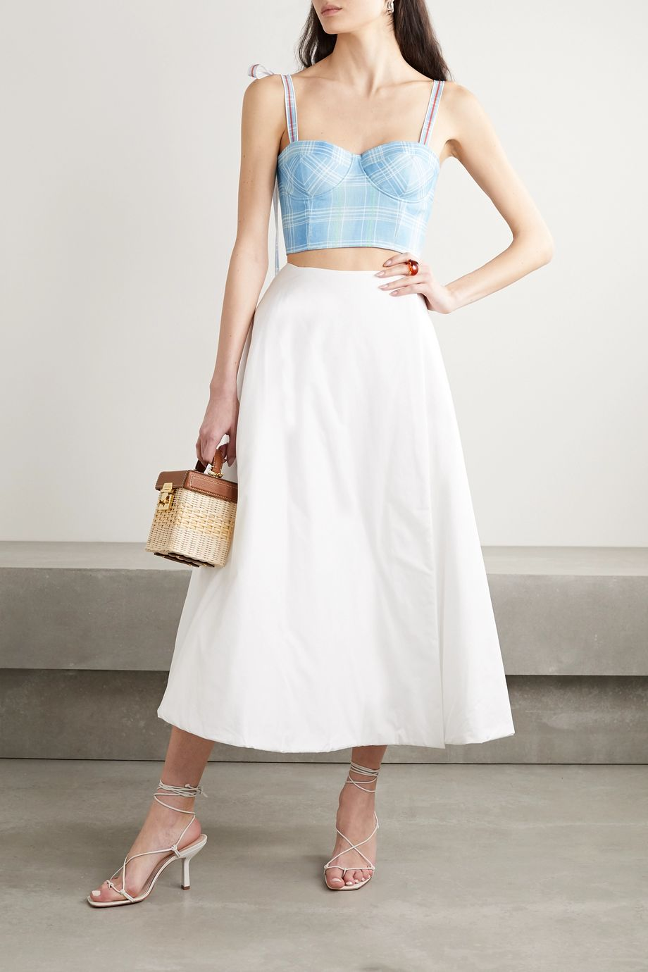 Rosie Assoulin Bustino cropped checked linen top