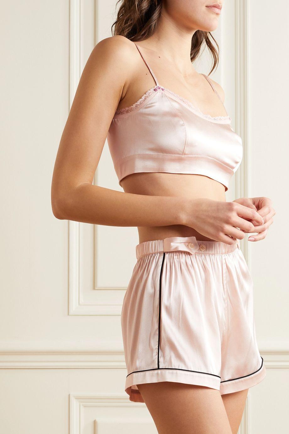 Morgan Lane Fiona piped silk-blend charmeuse pajama shorts