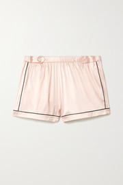 Fiona piped silk-blend charmeuse pajama shorts