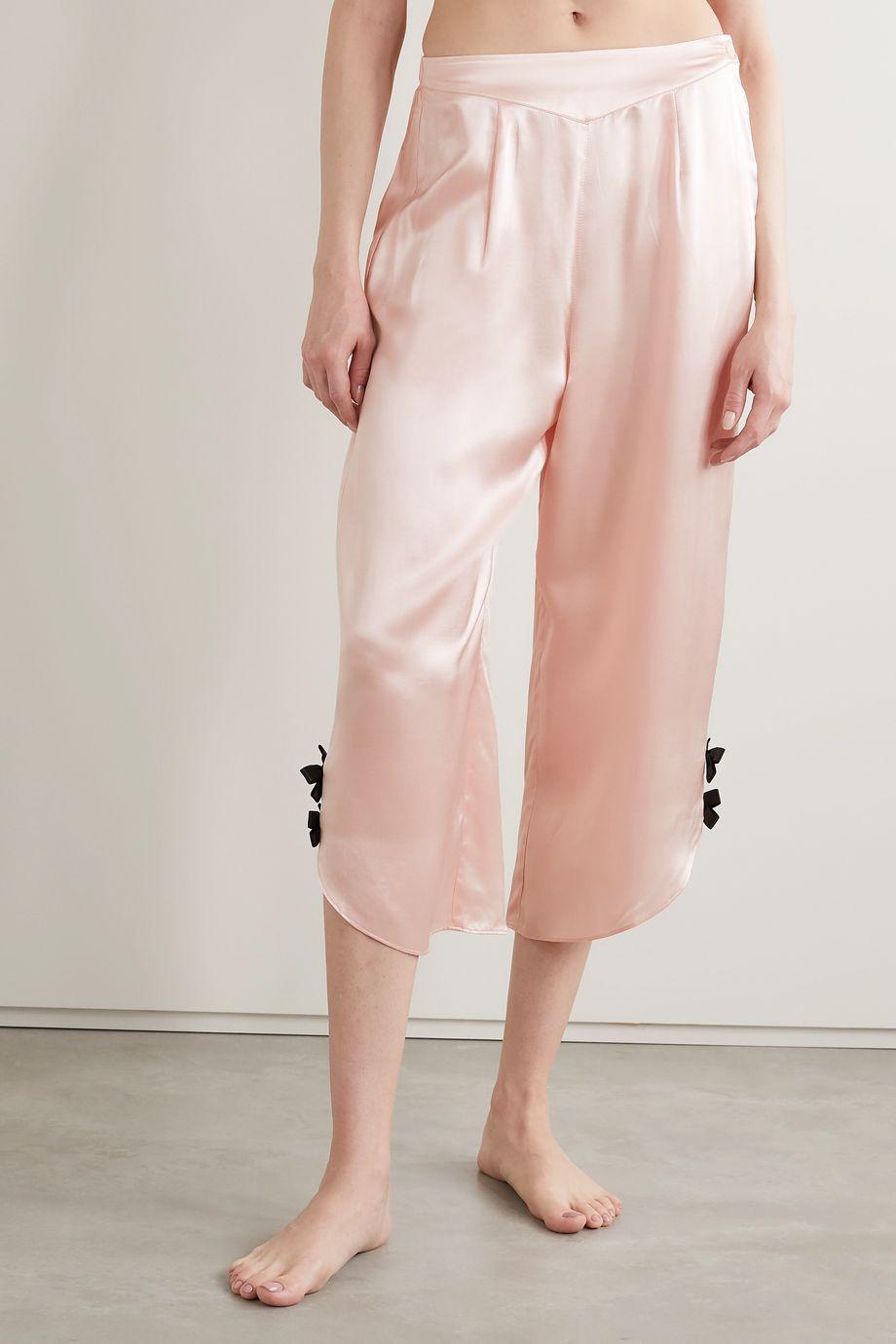 Morgan Lane Margo bow-embellished satin pajama pants