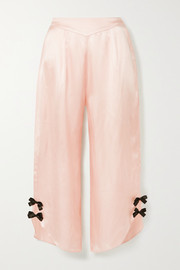 Morgan Lane Margo bow-embellished satin pajama pants