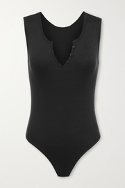 Commando Butter ribbed stretch modal and cotton-blend thong bodysuit
