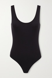 Commando Luxury ribbed stretch modal and cotton-blend thong bodysuit