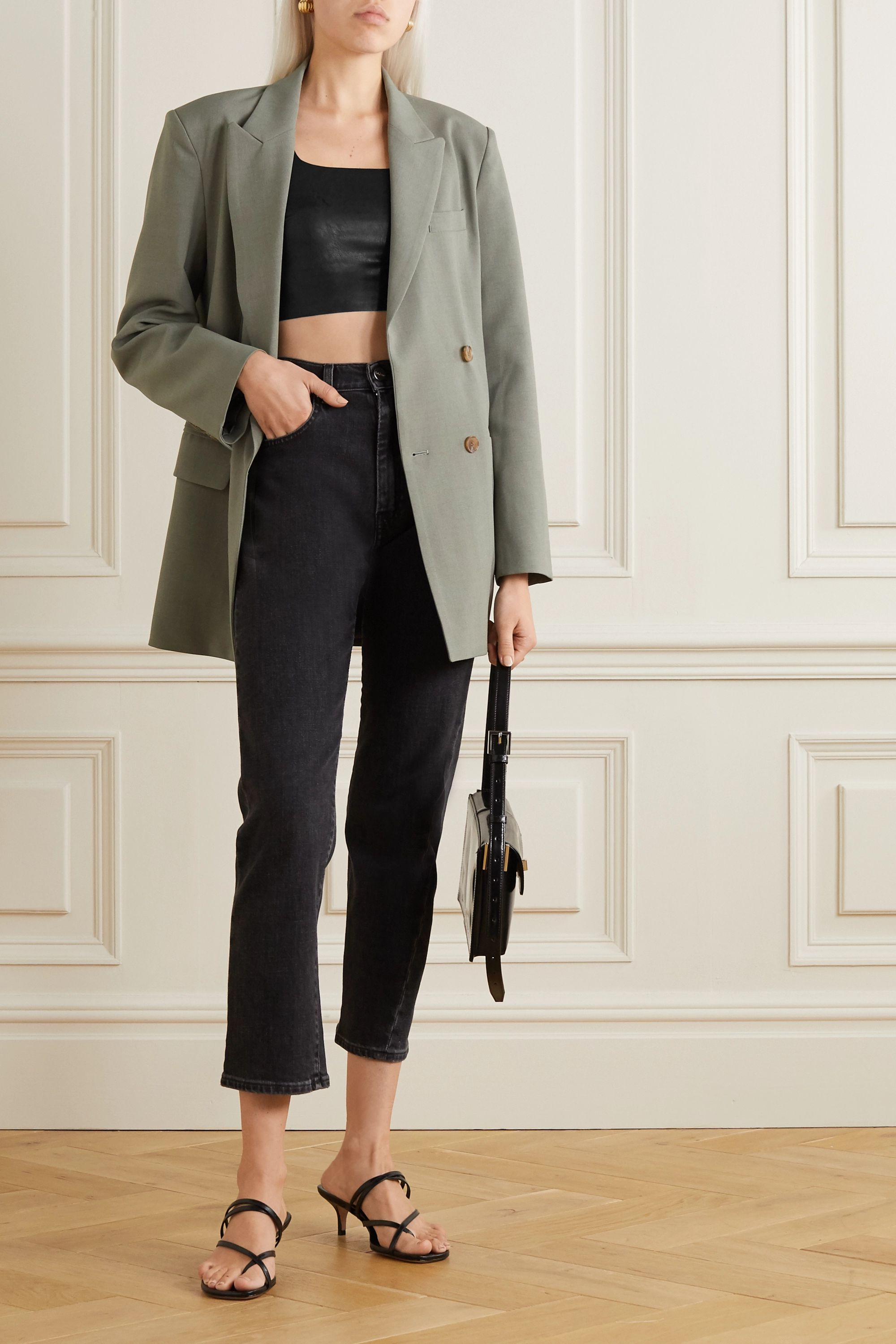 Commando Cropped faux stretch-leather top