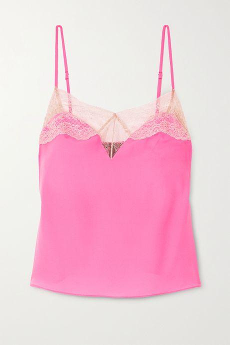Fuchsia Le Shock lace-trimmed silk-blend satin camisole | Kiki de Montparnasse iOUFMy
