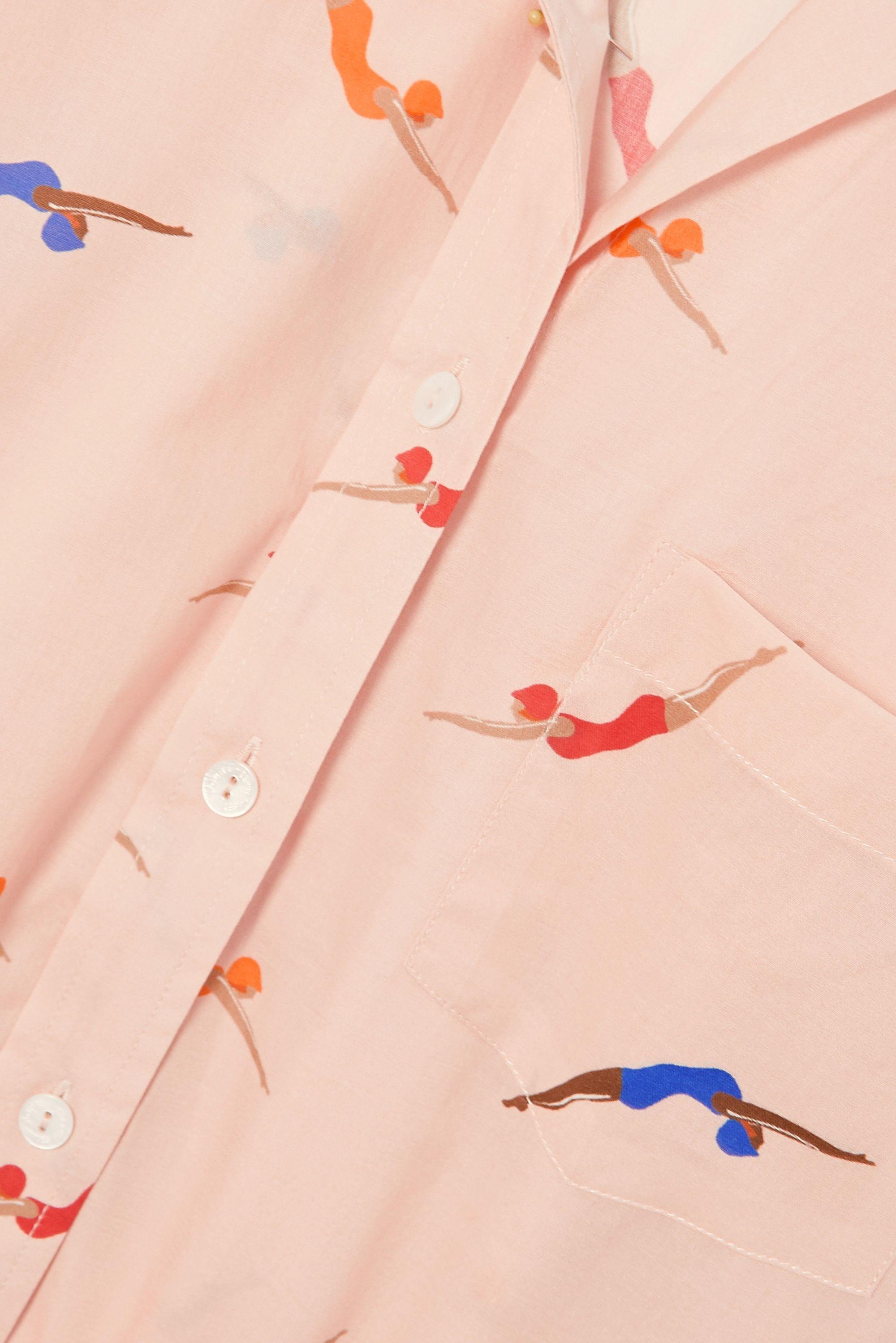 Pour Les Femmes Swimmers printed cotton-voile pajama set