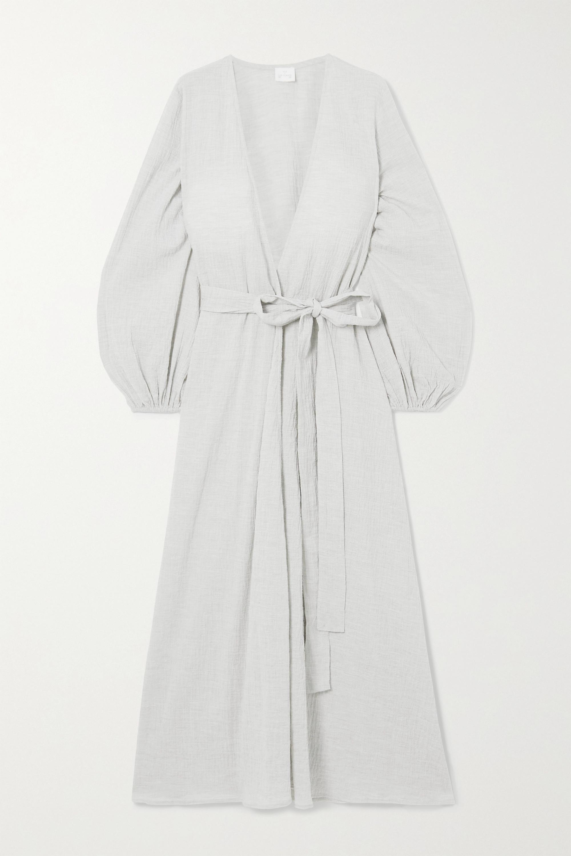 Pour Les Femmes Crinkled cotton-gauze wrap dress