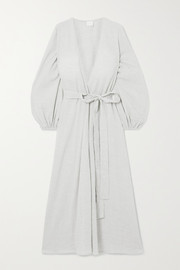 Pour Les Femmes Crinkled cotton-gauze wrap dress