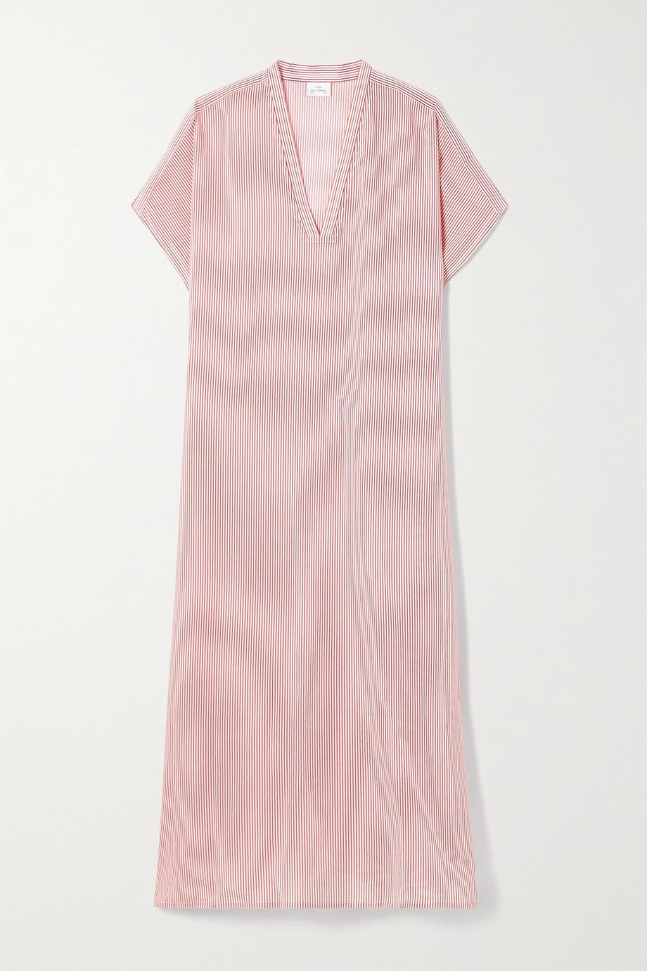 Pour Les Femmes Karachi 条纹纯棉巴里纱长罩衫裙