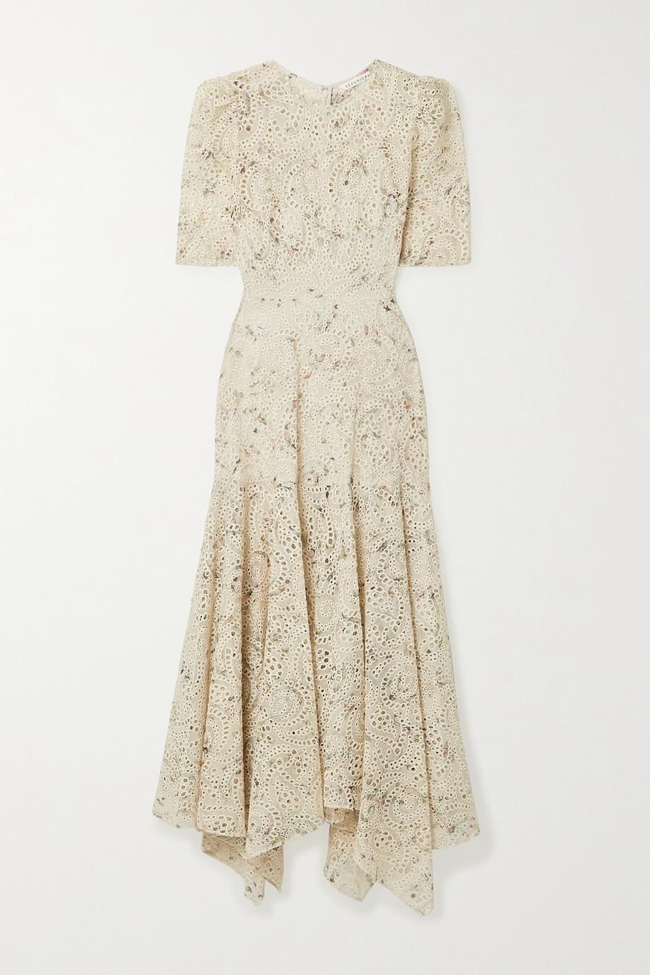 Veronica Beard Balsam floral-print broderie anglaise chiffon dress