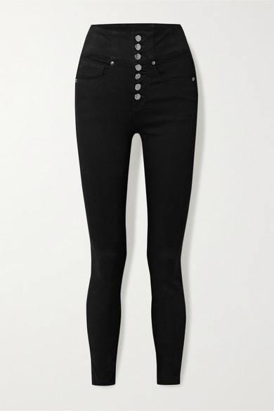 Veronica Beard Katherine High Waist Crop Skinny Jeans In Black