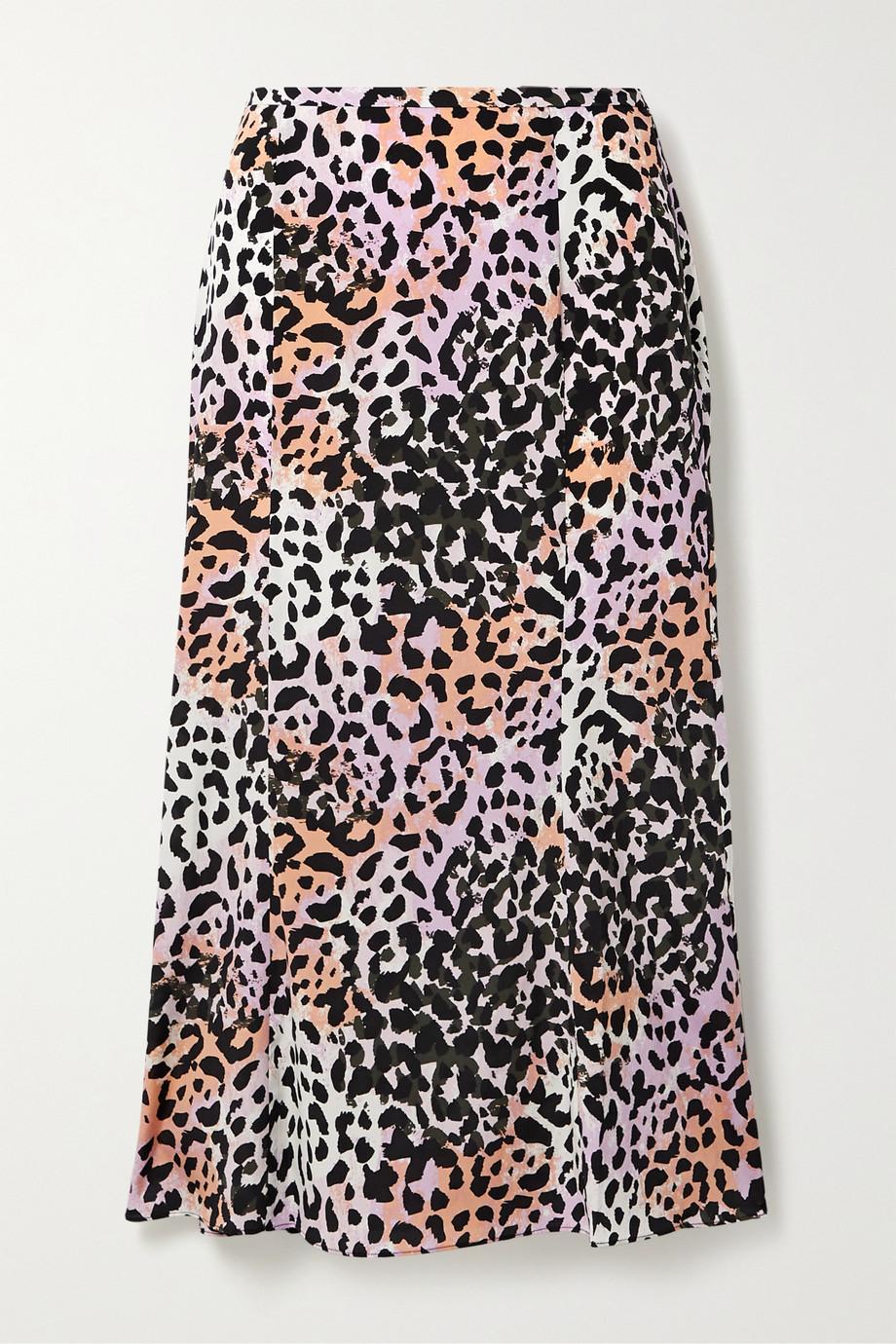 Veronica Beard Diane leopard-print stretch-silk midi skirt