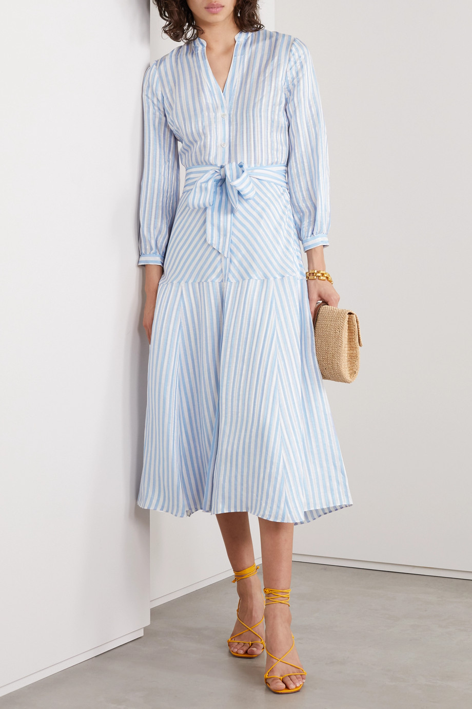Veronica Beard Jenna belted striped linen, silk, and modal-blend midi shirt dress