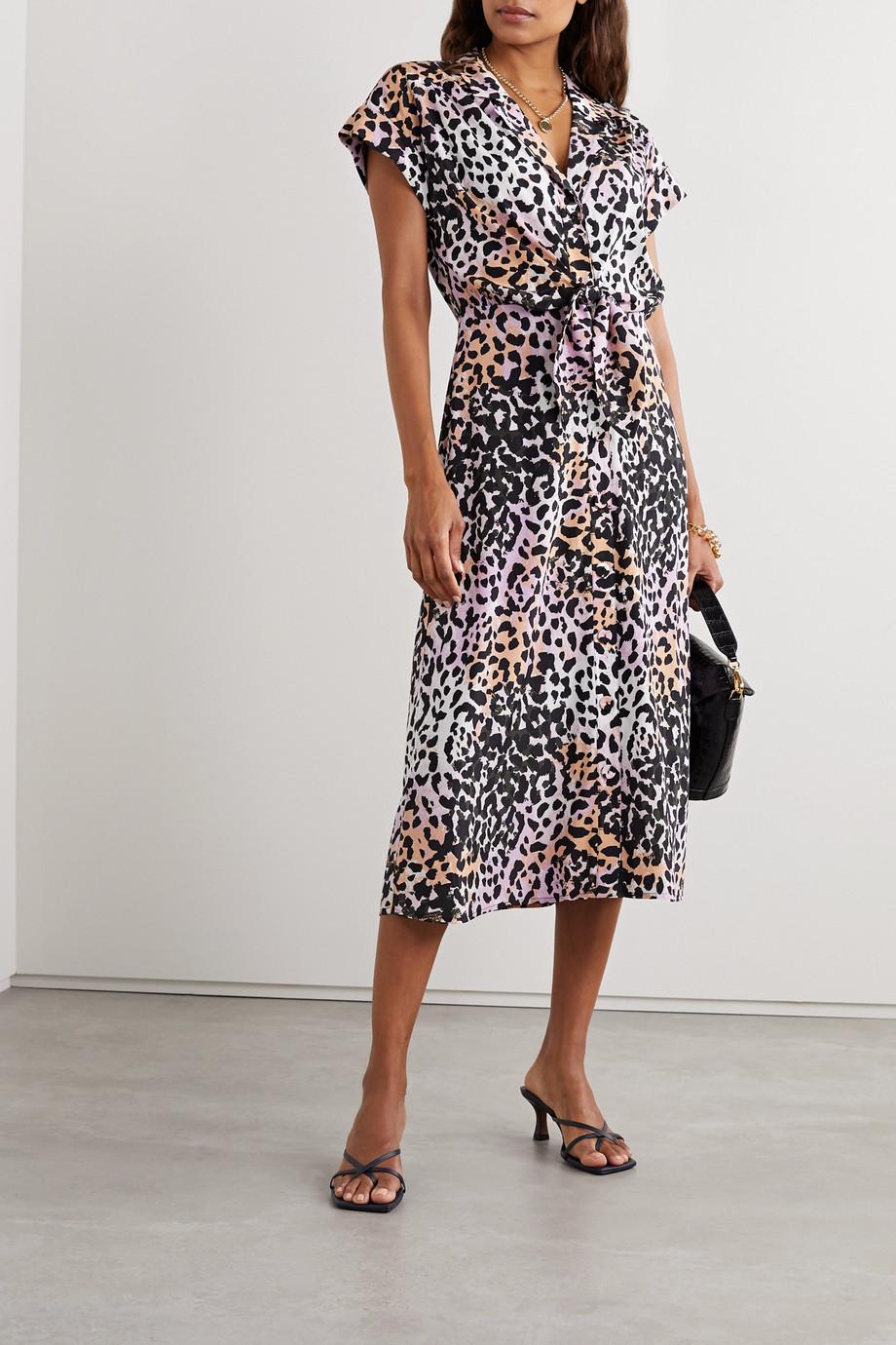 Veronica Beard Robe-chemise nouée sur le devant en soie stretch à imprimé léopard Amani
