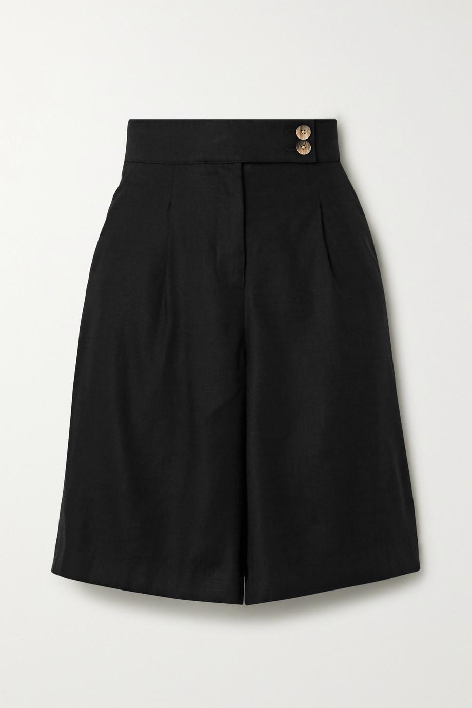 Veronica Beard Saira pleated linen-blend shorts