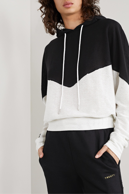 TWENTY Montréal Breathe two-tone cotton-blend mesh hoodie