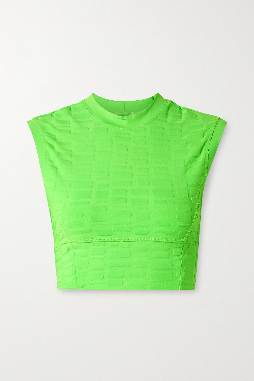 TWENTY Montréal Rothko 3D cropped stretch jacquard-knit top