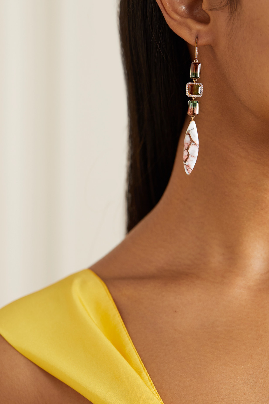 Guita M 18-karat rose gold multi-stone earrings