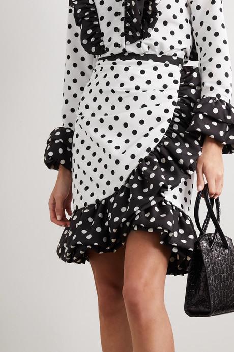 Ruffled polka-dot twill mini skirt
