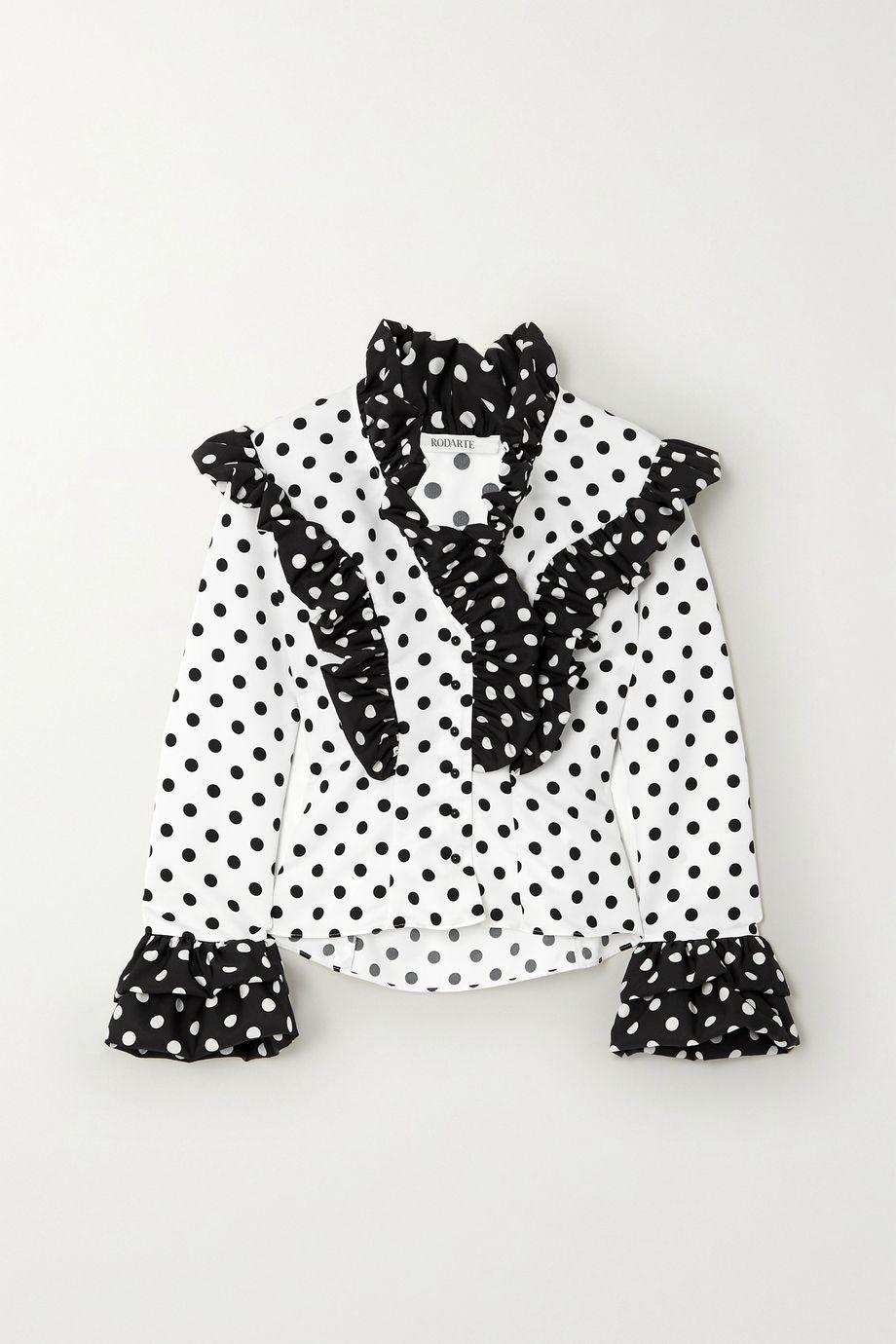 Rodarte Ruffled polka-dot twill blouse