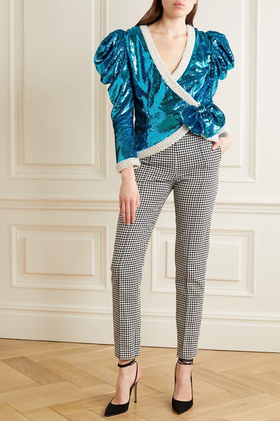 Rodarte Embellished sequined chiffon wrap jacket