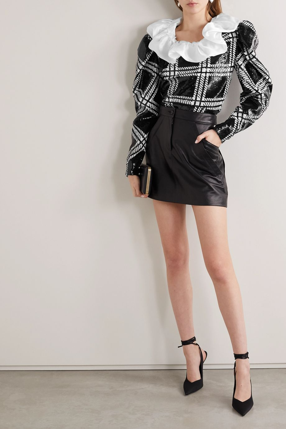 Rodarte Silk-organza trimmed checked sequined stretch-knit blouse
