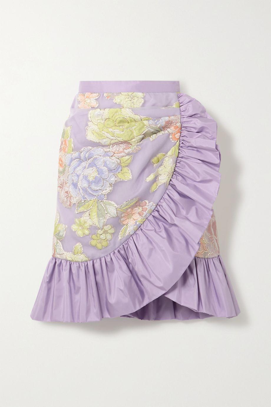 Rodarte Ruffled silk-blend floral-jacquard mini skirt