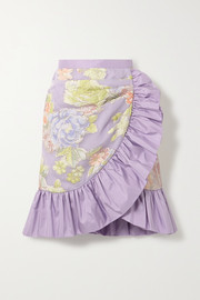 Rodarte Ruffled silk-blend floral-jacquard mini skirt