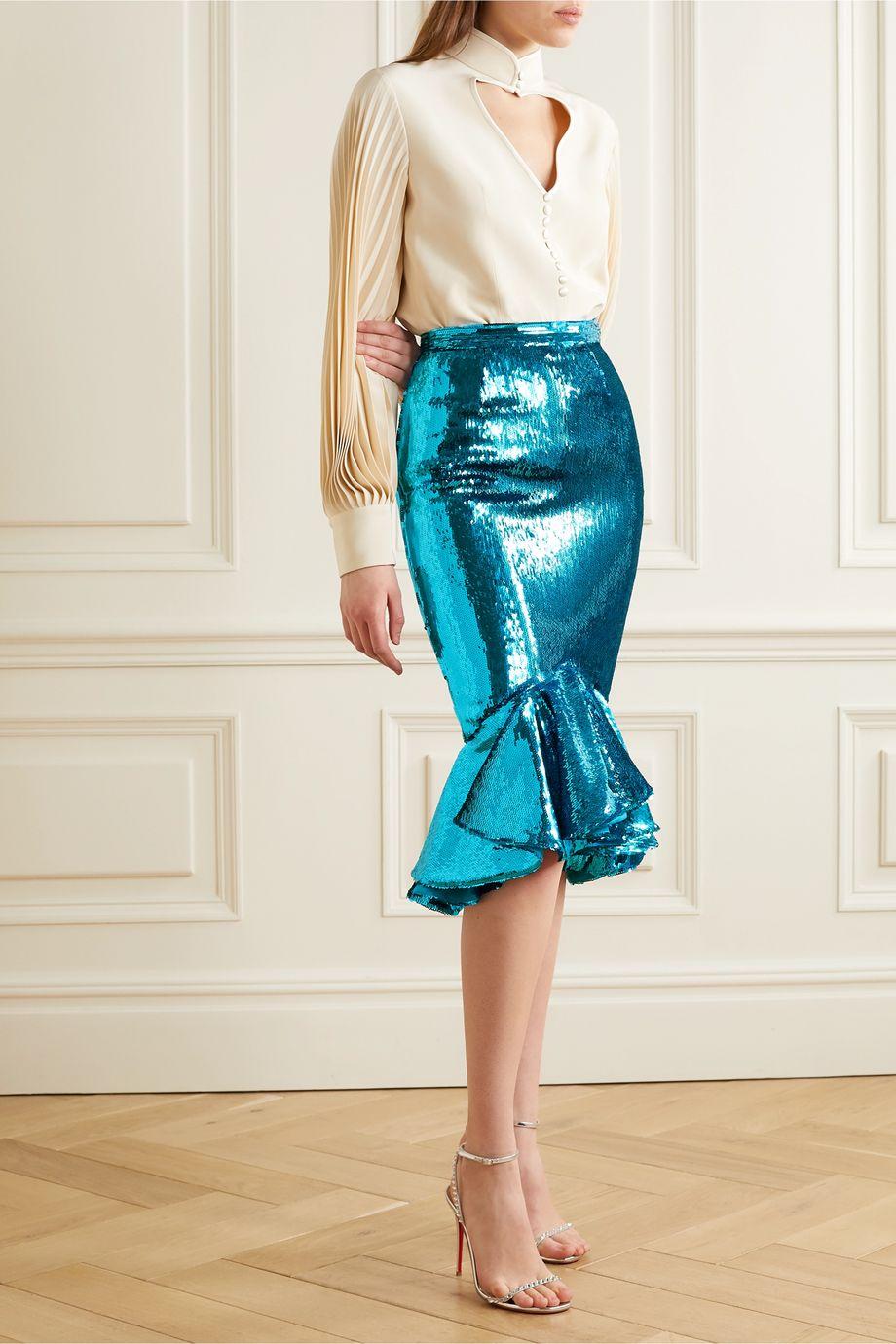 Rodarte Ruffled sequined chiffon midi skirt