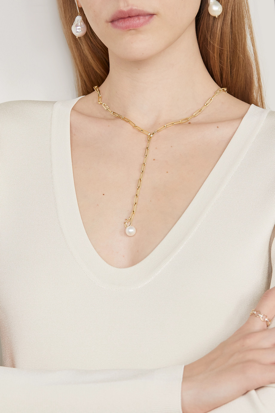 Mateo 14-karat gold pearl necklace