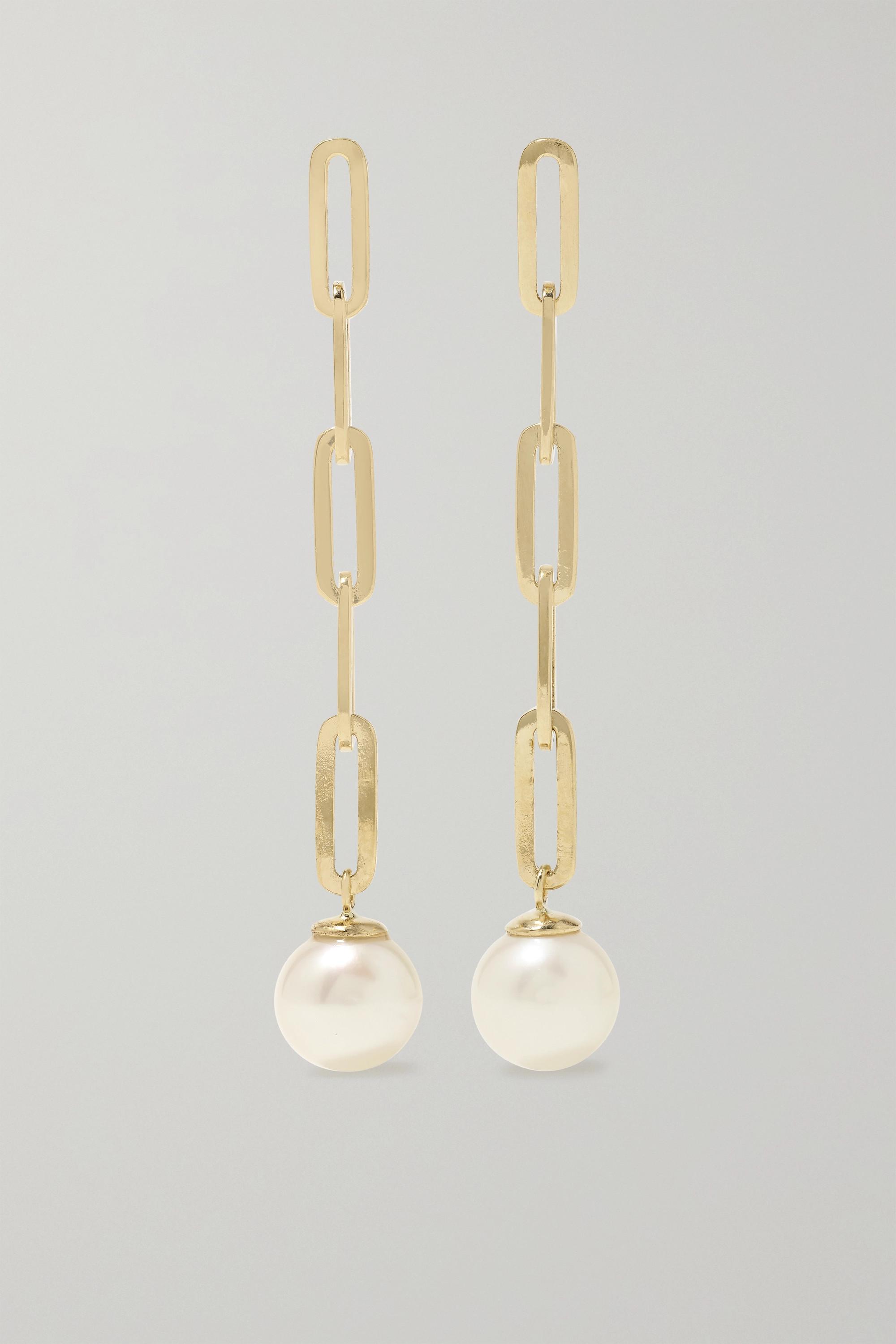Mateo 14-karat gold pearl earrings