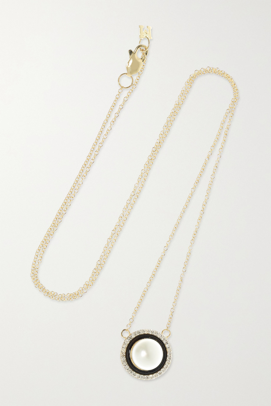 Mateo 14-karat gold, pearl, diamond and enamel necklace